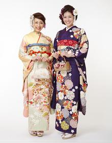 (左)淡色松竹梅  (右)古紫に桜